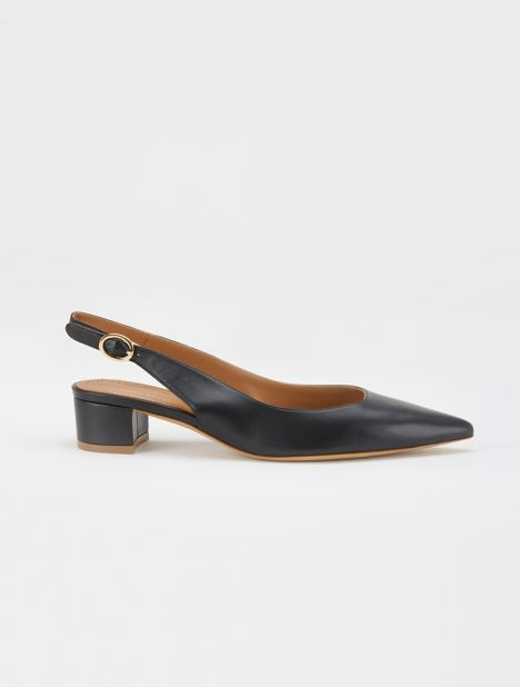 Leather Slingback Heel - Black