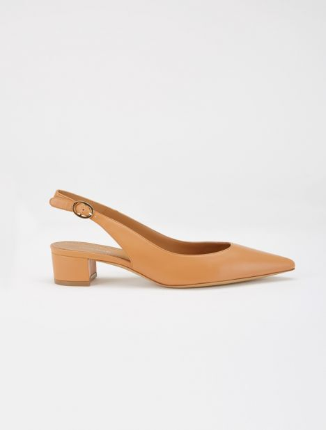 Leather Slingback Heel - Saddle