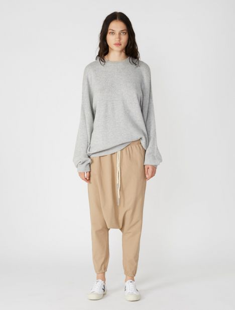 Double Jersey Stretch Slouch Pant - Light Tan