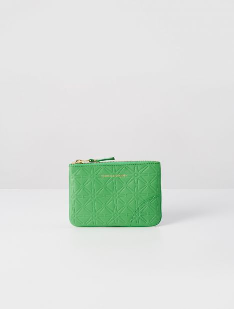 Embossed Small Leather Zip Pouch - Green