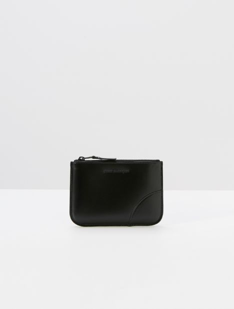 Very Black Small Leather Zip Pouch - Black