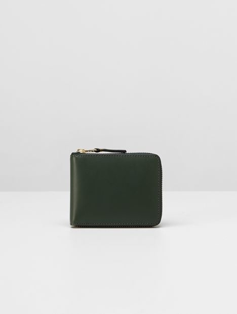 Classic Small Square Zip Wallet - Bottle Green