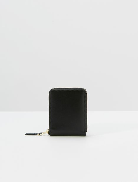 Classic Small Square Zip Wallet - Black