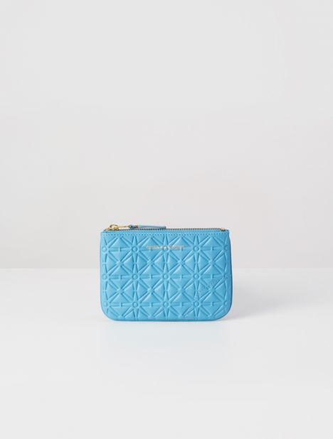Embossed Small Leather Zip Pouch - Blue