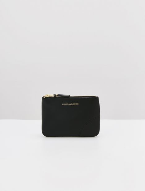 Classic Small Leather Zip Pouch - Black