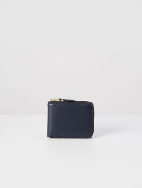 Classic Leather Zip Wallet - Navy