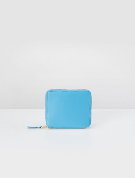 Classic Square Leather Zip Wallet - Blue