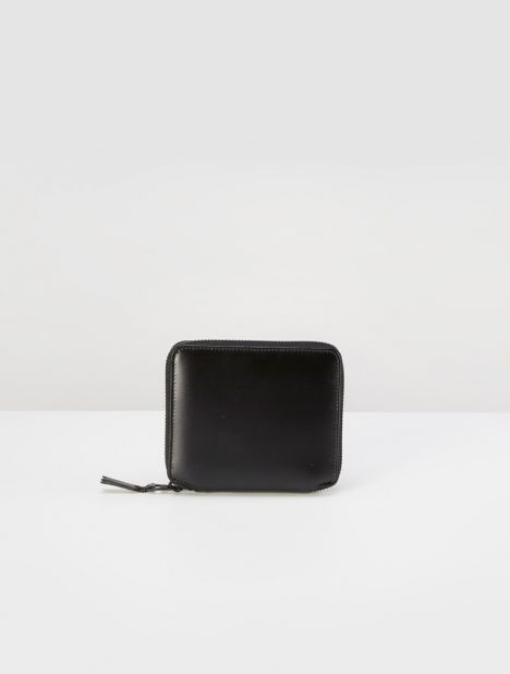 Very Black Leather Square Zip Wallet