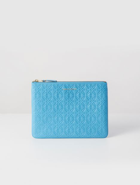 Embossed Leather Zip Pouch - Blue