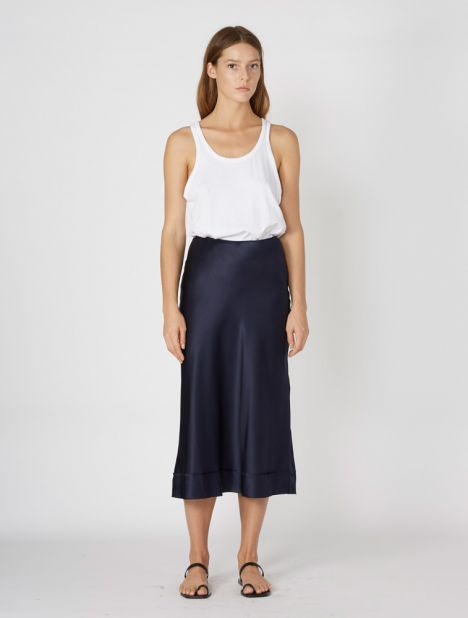 Stella Silk Skirt - Ink