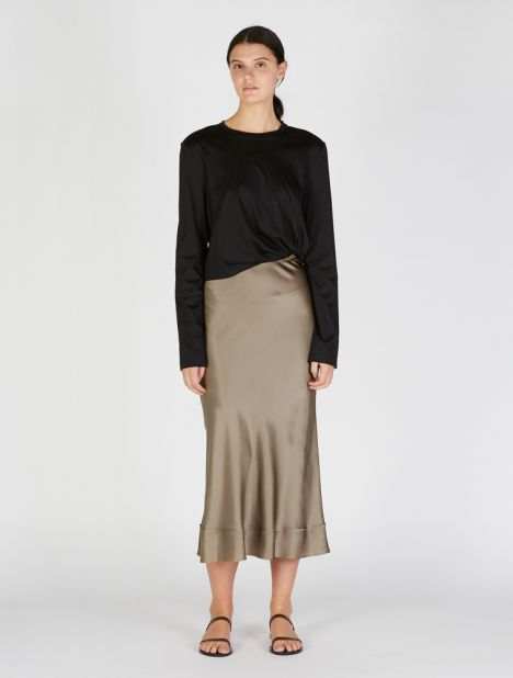 Exclusive | Stella Satin Skirt - Olive