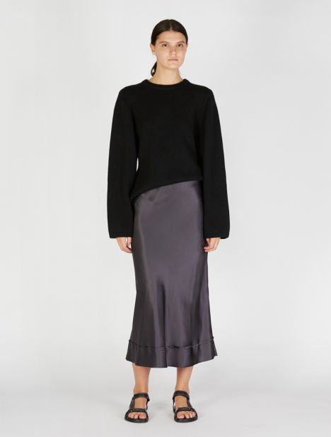 Exclusive | Stella Satin Skirt - Pewter