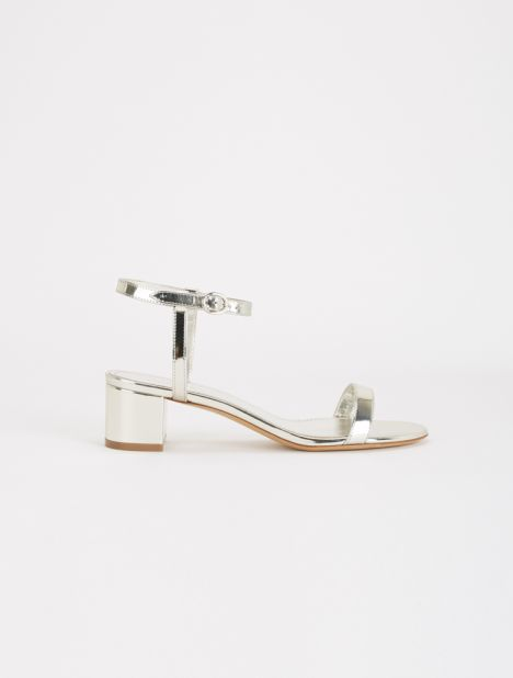 Ankle Strap Leather Sandal - Silver
