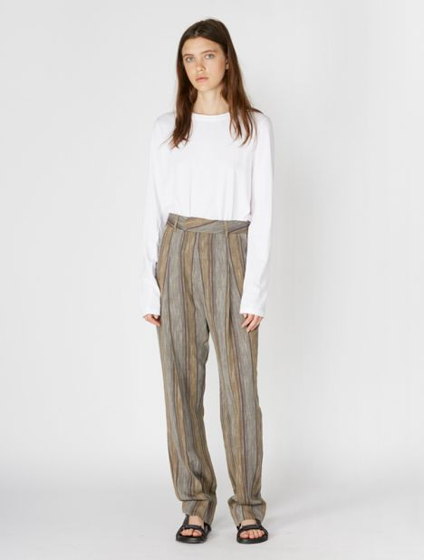 Stripe Gauze Pleat Front Pant