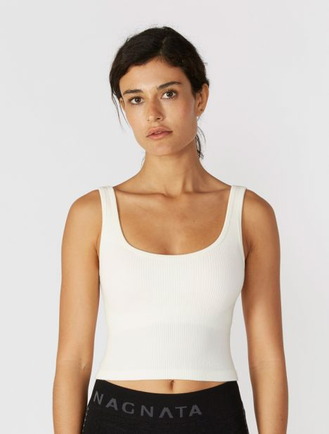 Suska Rib Crop Top With Removable Cups - Cream
