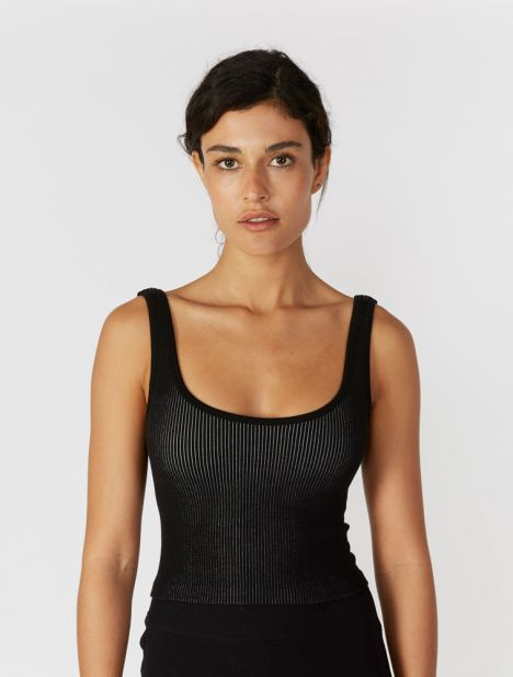 Suska Rib Crop Top With Removable Cups - Black