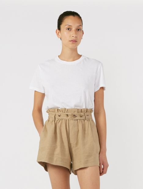 Tab Detail Linen Short - Taupe