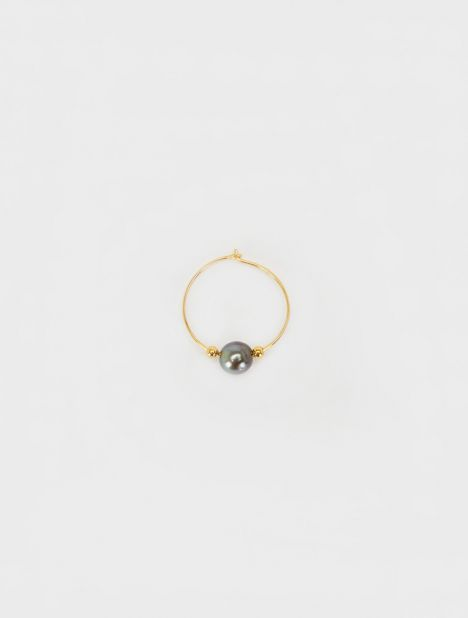 Exclusive | Tahitian Black Pearl Hoop Earring