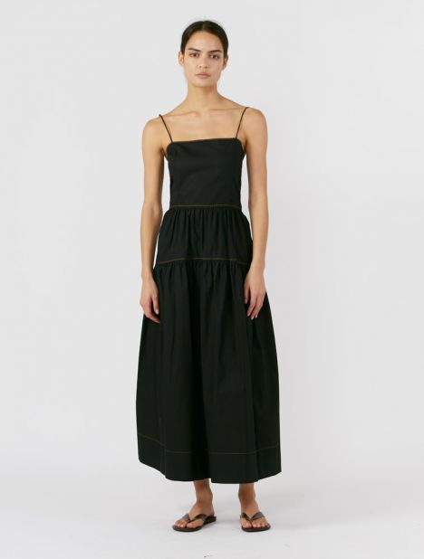 Cotton Tie Back Summer Dress - Black