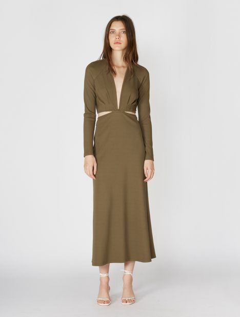 Open Tie Back Ribbed Dress