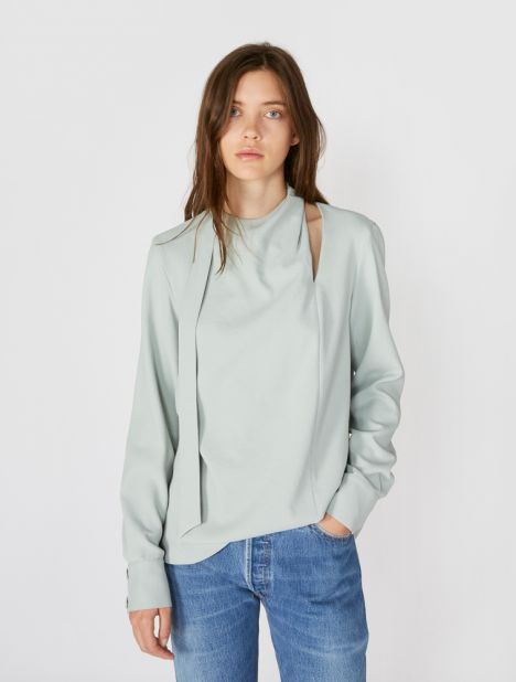 Chalky Drape Tie Pleat Top