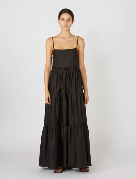 Tiered Low Back Sundress - Black