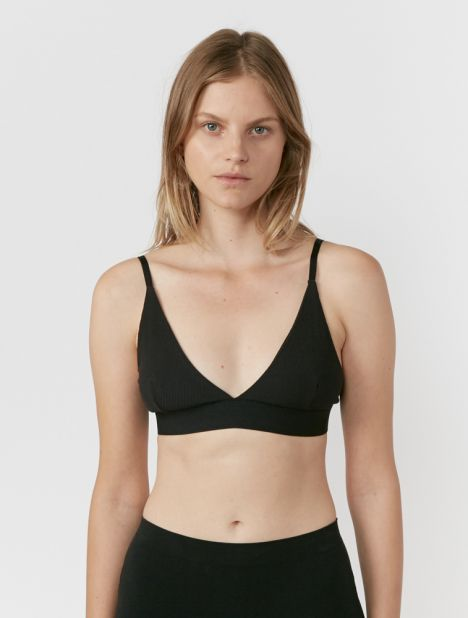 Rib Triangle Bra - Black