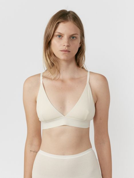 Rib Triangle Bra - Off White