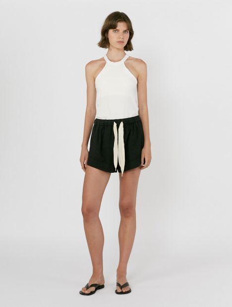 Twill Flared Mini Short - Black