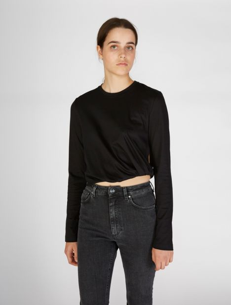 Long Sleeve Twist Crop Tee - Black