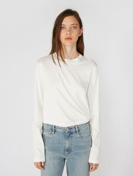 Long Sleeve Twist Crop Tee - White