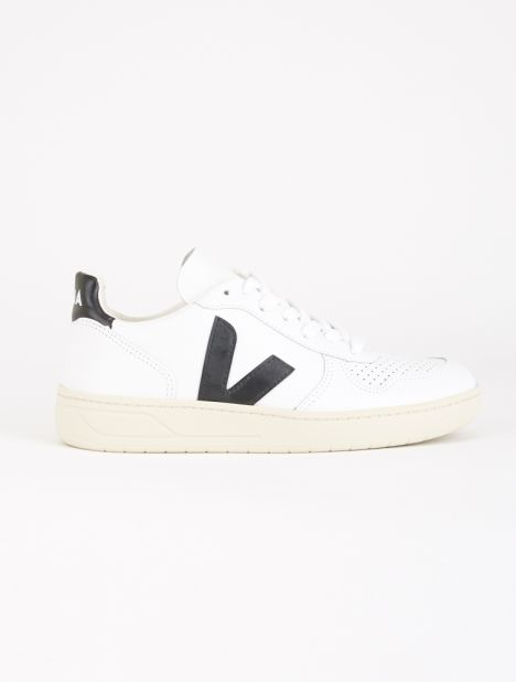 V-10 Leather Sneaker - White Black