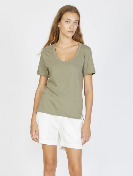 Fitted V-Neck T-Shirt - Washed Khaki