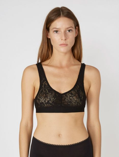 Valentina French Lace Bralette - Black