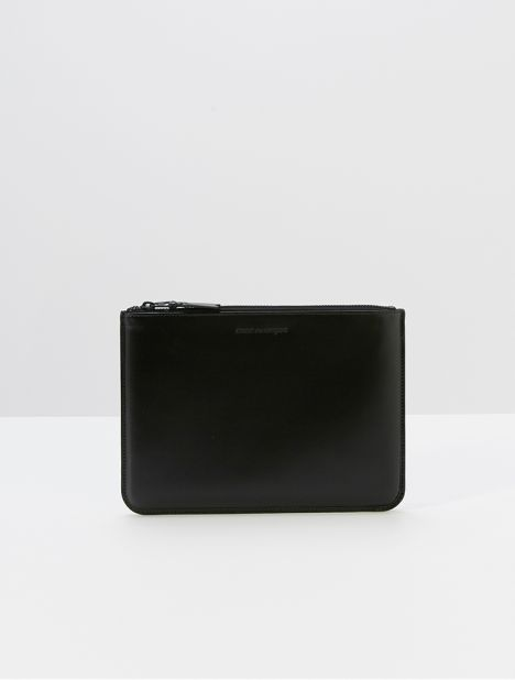Very Black Large Leather Zip Pouch