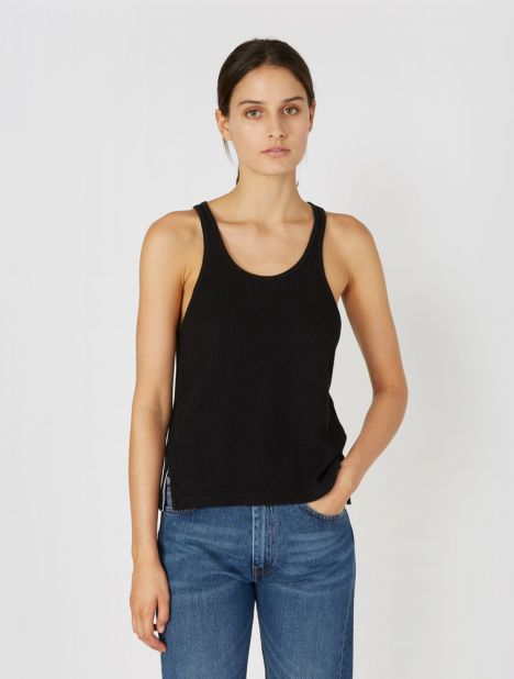 Waffle Jersey Athletic Tank - Black