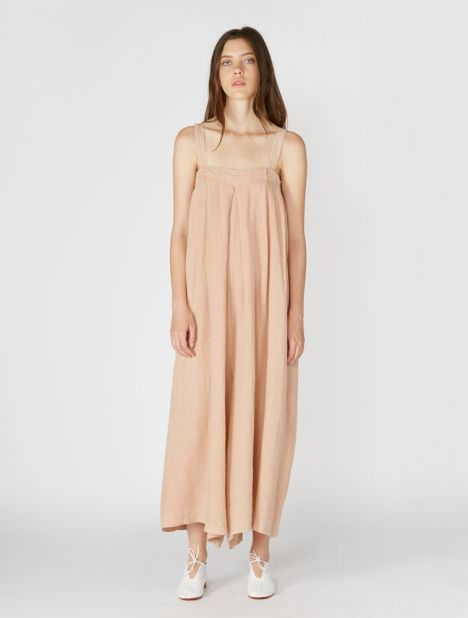 Wide Leg Linen Jumpsuit - Peach