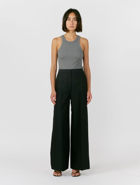 Wide Line Wool-Silk Pant