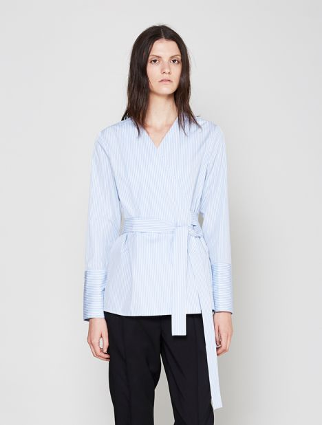 Belted Cotton Wrap Shirt