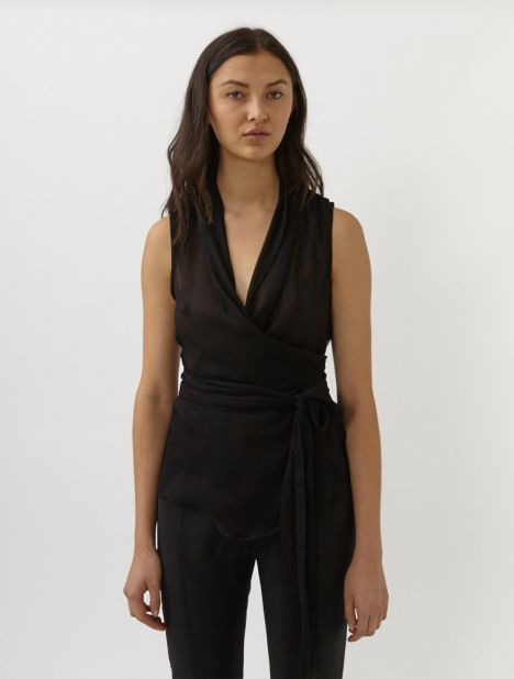 Silk Crepe Belted Wrap Top