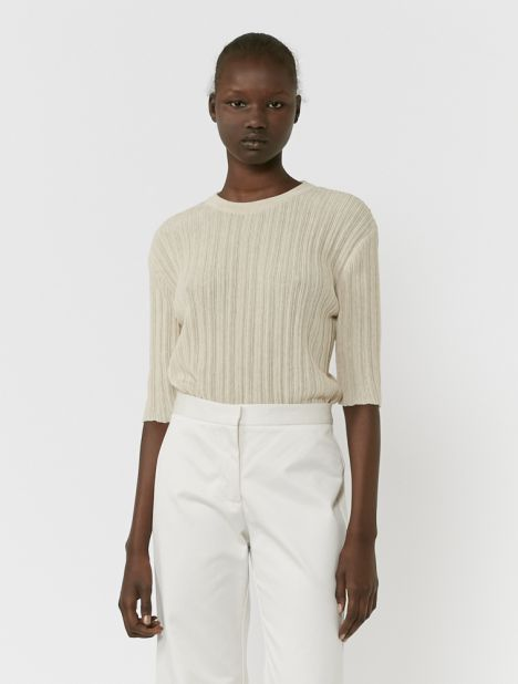 Wrinkle Knit Top - Beige