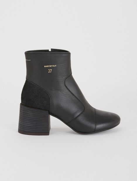 Panelled Leather Ankle Boot