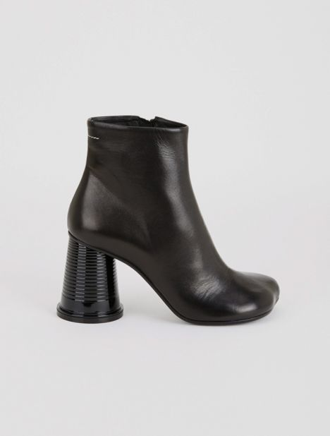 Cup Heel Leather Ankle Boot