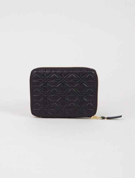 Embossed Leather Square Zip Wallet