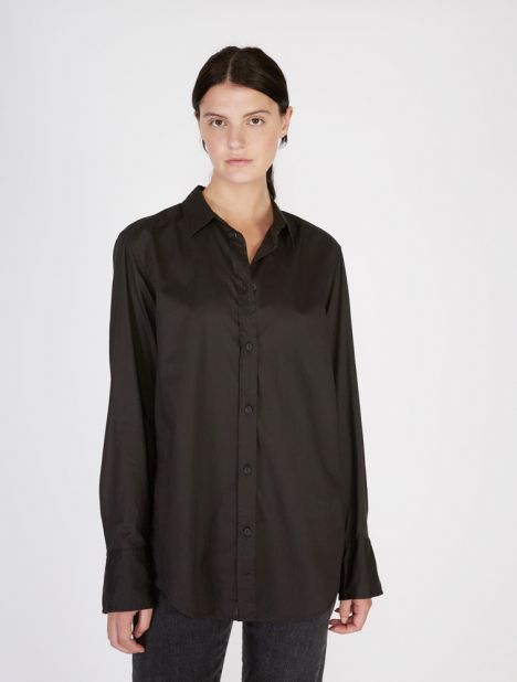 Long Sleeve Cotton Shirt - Black