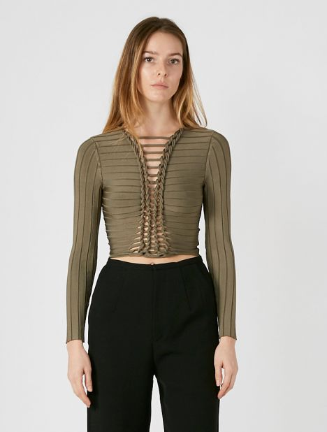 Central Braid Long Sleeve Top