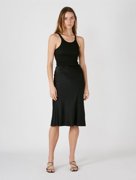 Valeria Bias Silk Slip Skirt