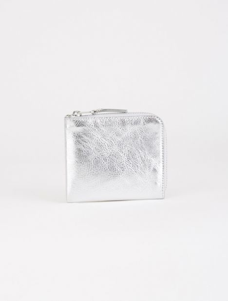 Half Zip Leather Wallet - Silver
