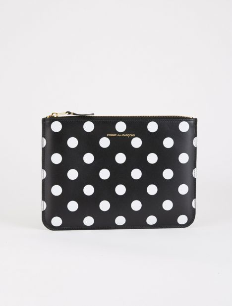 Polka Dot Leather Zip Pouch - Black / White