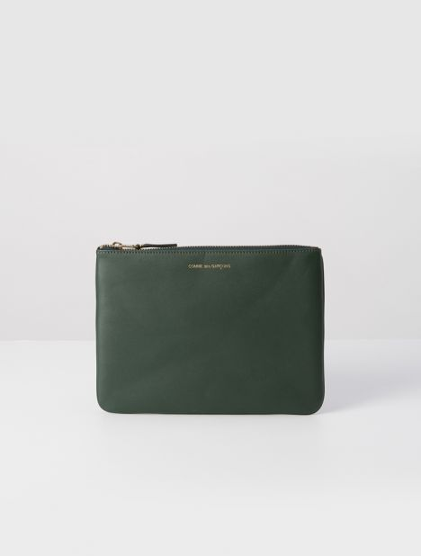 Classic Leather Zip Pouch - Bottle Green